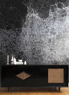 Calico wallpaper - smoke (looks like the moon, in the Youtube dining room episode of Mr. Kate on their dining ceiling)