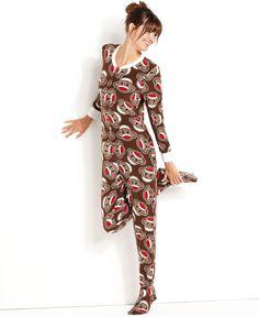 Briefly Stated Pajamas, Brown Sock Monkey Footie Pajamas - Womens Lingerie - Macy's