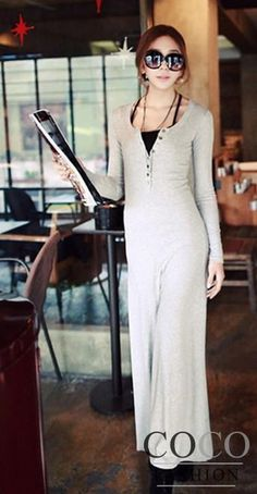 Grey, Round Neck Maxi Dress with Long Sleeves and Button Studs