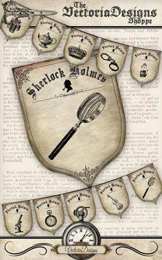 Sherlock Holmes Party Banner Detective by VectoriaDesigns on Etsy Sherlock Holmes, Mystery Dinner, Mystery Parties, Florent Mothe, Detective Theme, Download Digital, Arthur Conan Doyle, Party Decoration, 221b Baker Street