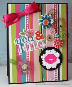 Stamps: PSA Essentials Frenchie Peel & Stick set  Patterned paper and 3-D stickers: Momenta  Die cuts: Sizzix Big Shot, Framelits (Circles, Flowers)  Ink: Clearsnap Premium Die inks (Licorice, Guava)  @Jeanne Streiff