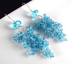 Sky Blue Quartz Sterling Silver Cluster Earrings, Waterfall Earrings