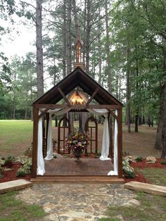 My family built this for my cousin to get married. We called it our chapel! - My family built this for my cousin to get married. We called it our chapel! Barn Wedding Venue, Chapel Wedding, Farm Wedding, Wedding Gazebo, Outdoor Venues, Event Venues, Wedding Decorations, Wedding Ideas, Diy Wedding