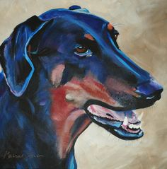 Doberman Pincher painting.  Reproductions available.  See www.karrenmgarces.com.