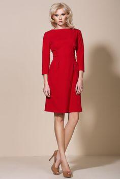 Robe Rouge Femme Manche 3 4 ALORE Al05 Taille 36 38 40 42 44 cérémonie 714967f81314