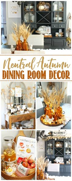 Get inspired for fall with this neutral fall dining room. Lots of fall decor tips that you can use in any room in your home. /#fallhometour #falldecor #falldecorating #fallideas #homedecor #diningroomdecor