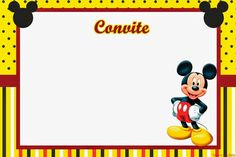 Kit para Fiestas de Mickey en Amarillo para Imprimir Gratis. Mickey Mouse Frame, Minnie Mouse Cake, Free Printable Invitations, Printable Cards, Baptism Invitations, Disney Printables, Free Printables, Mickey E Minie, Minnie Mouse Birthday Invitations