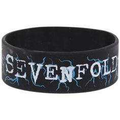 Avenged Sevenfold Lightning Logo Rubber Bracelet   Hot Topic (26 SAR) ❤ liked on Polyvore featuring jewelry, bracelets, rubber bracelets, band merch, avenged sevenfold, rubber jewelry, blue bangles, blue jewelry, rubber bangles and logo jewelry