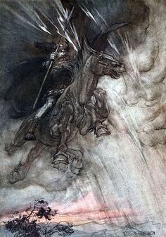 """Raging Wotan rides to the rock!... Like a storm-wind he comes! (frontispiece). """"The Rhinegold and The Valkyrie"""" (1910), illustrated by Arthur Rackham"""