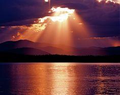 Priest Lake Sunset Heavenly Light Photograph