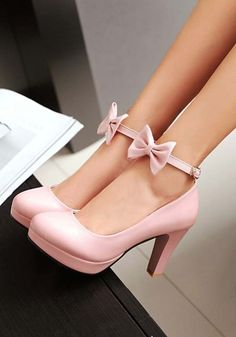 "Pink Round Toe Chunky Bow Sweet High-Heeled Shoes - Accessories, shoes and jewel. - Pink Round Toe Chunky Bow Sweet High-Heeled Shoes – Accessories, shoes and jewelry ""Pink Round - High Heels Boots, Pumps Heels, Stiletto Heels, Heel Boots, Flats, Wedge Heels, Dr Shoes, Me Too Shoes, Prada Shoes"
