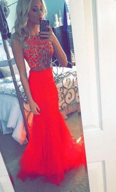 Sexy 2 Piece Prom Dresses Red Mermaid 2015 Red Tulle Beaded Long Prom Evening Gown Formal Dress