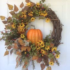 The Chic Technique: Fall Wreaths Pumpkin Wreath Front Door Decor by ReginasGarden Thanksgiving Wreaths, Holiday Wreaths, Fall Door Wreaths, Fall Door Decorations, Owl Wreaths, Kitchen Decorations, Thanksgiving Recipes, Halloween Decorations, Diy Fall Wreath