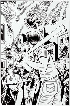 """Fire Ball,"" an original illustration by Charles Burns."