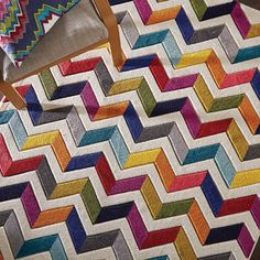 Vibrant colours leap across this chevron patterned Bolero rug from Flair Rugs. Hand carved to enhance the bright multi-coloured combinations, this design creates a stunning focal point in your home. Contemporary Rugs, Modern Rugs, Carpets For Kids, Dynamic Rugs, Cube Design, Colorful Rugs, Multicoloured Rugs, Buy Rugs, Round Rugs