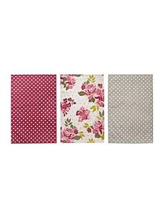 Pretty floral set of 3 tea towels