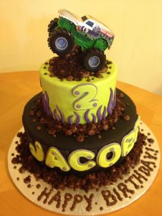 Monster Truck Cakes Decorating Ideas, Images Of Monster Truck Cakes Monster Jam Cake, Monster Truck Birthday Cake, 6th Birthday Cakes, Birthday Cake Pictures, Birthday Ideas, Birthday Parties, Truck Cakes, Different Cakes, Birthday Cake Decorating