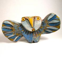 Owl Sculpture Whimsical Ceramic ArtOwl Person by BlueFireStudio
