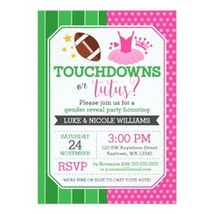 Touchdowns or Tutus Gender Reveal Party Card