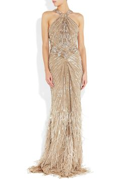 Roberto Cavalli Embellished silk-chiffon gown ($8,950 so no go, but gorgeous)