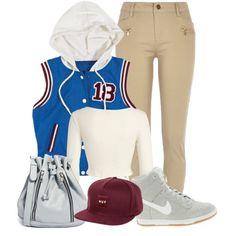 """Varsity Swag"" by jeweliana86 on Polyvore. Urban Fashion. Urban Outfit. Hip Hop Fashion. Hip Hop Outfit. Sporty Outfit. Swag. Streetwear"