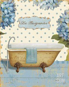 Great Big Canvas 'Thinking of You Bath II' Daphne Brissonnet Graphic Art Print Size: H x W x D, Format: White Framed Decoupage Vintage, Decoupage Paper, Bathroom Prints, Bathroom Wall Art, Seashell Bathroom, Bath Art, Small Bathroom, Framed Artwork, Wall Art Prints