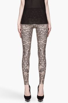 ALEXANDER MCQUEEN Black and beige Engineered Lace Printed Leggings