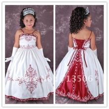 Free Shipping Hot sale Ball Gown Spaghetti Straps Floor Length Flower Girl Dresses With Embroidery and Buttons(China (Mainland))