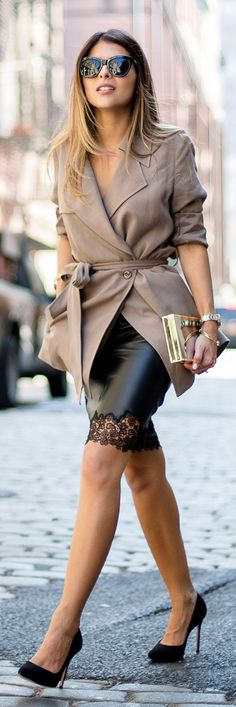 Black Cut-out Leather Skirt Blush Cropped Trench Fall Inspo by The Girl From Panama