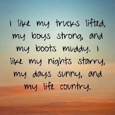 I know sometimes I get snide looks from people when I say that I'm country. No, I wasn't born on a farm, but that doesn't mean I'm not a farmer's daughter. Being country isn't always based on where you live, it's based on roots, and believe me, mine are country