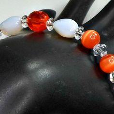 Handmade bracelet opaline beads orange cats eye big orange crystals size 7 Pat2 #Pat2 #Beaded