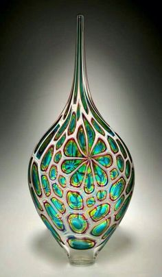 With a nod to the colors and shapes of my childhood, this is a funky, fabulous, and fantastic piece. **Lime/Aqua/Hyacinth Resistenza: David Patchen: Art Glass Vessel - Artful Home Glass Vessel, Glass Ceramic, Mosaic Glass, Fused Glass, Stained Glass, Blown Glass Art, Art Of Glass, Glas Art, Bottle Art