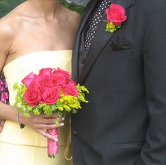 I love this wedding from year  ago. Just a sweet combination of hot pink roses, solidago and a lime green collar of buplurium.