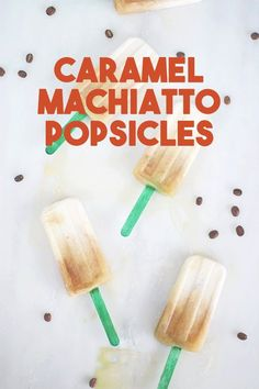 Whip up a batch of this refreshing iced caramel macchiato popsicle recipe just like the Starbucks treat! The coffee kick will give you your caffeine fix while keeping you cool for summer!