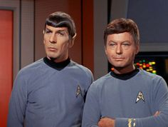 Spock and McCoy on the bridge