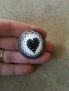 Hand painted Stone Little Lace Love