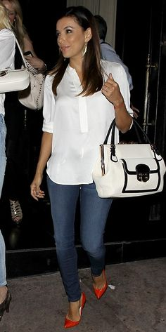 Eva Longoria wearing Salvatore Ferragamo Doctor Leather Bag, Henry & Belle Lila Skinny Jeans and Christian Louboutin Pigalle Python Corazon Pumps.