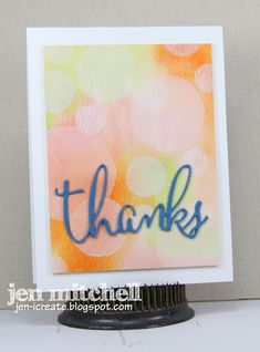 """handmade thank you card from I Create ... fab look of bokeh softens watercolor background ... die cut """"thanks"""" in script font and bright blue paper ..."""