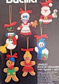 Vtg Bucilla Jeweled Sequin Felt Christmas Tree Ornament Kit Mini Figures Santa #Bucilla48786