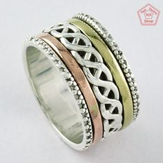 RARE BEAUTY DESIGN !! Solid 925 STERLING SILVER SPINNER RING S.11 US, R3870 #SilvexImagesIndiaPvtLtd #Spinner