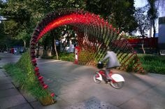 Nescafe's Portal of Awareness Made of Coffee Cups Will be Covered in Vines in Mexico Portal of Awareness by Rojkind Arquitectos – Inhabitat - Sustainable Design Innovation, Eco Architecture, Green Building Portal, México City, City Art, Reverse Graffiti, Eco Architecture, Shade Structure, Nescafe, Outdoor Art, Green Building