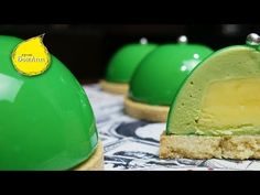 Пирожное с фисташковым муссом и лимонным курдом в зеркальной глазури. - YouTube Dairy, Cheese, Youtube, Food, Essen, Meals, Youtubers, Yemek, Youtube Movies