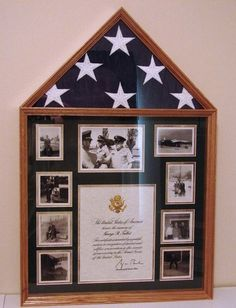 Shadow box ideas like military shadow box ideas, diy shadow box ideas, shadow box frame ideas, newbron shadow box, and etc Shadow Box Memory, Diy Shadow Box, Memory Wall, Shadow Box Frames, Flag Display Case, Display Cases, Military Home Decor, Button Art On Canvas, Military Shadow Box