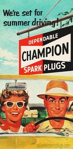 Vintage Ad Champion Spark Plugs 1958  #vintageads #cars # 1950s