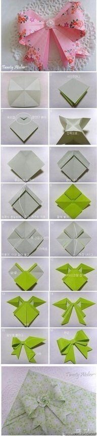 Square paper, cut-out with right measurement, become a cute ribbon! ♥Follow us♥