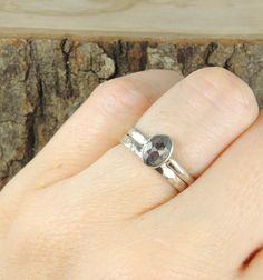 Black Diamond Engagement Ring 14k White Gold by PointNoPointStudio