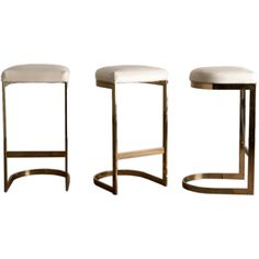 A Set of Three Cantilvered Brass Framed Barstools 1970s | From a unique collection of antique and modern stools at https://www.1stdibs.com/furniture/seating/stools/
