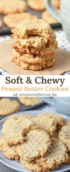 Chewy Peanut Butter Cookies, made with brown sugar and creamy or crunchy peanut butter, have a crispy outer edge and a soft, chewy middle. Delicious Cookie Recipes, Best Cookie Recipes, Healthy Dessert Recipes, Yummy Cookies, Sweet Desserts, Vanilla Cookies, Popular Recipes, Cake Cookies, Cupcakes