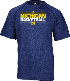 Michigan Wolverines Heather Blue Dribbler Short Sleeve Climalite Basketball Practice Shirt by Adidas $31.95