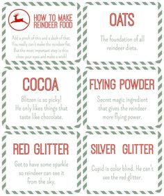 Reindeer Food Free Printables | Everything to make a magical reindeer food party station including poems, instructions and ingredient table tents.